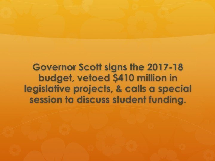 Governor Scott calls special session to discuss student funding