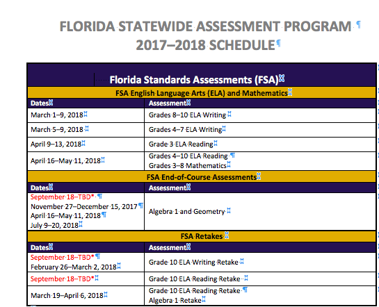 Revised Fall 2017 Retake and EOC testing schedule