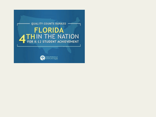 Florida ranked 4th in the nation for K-12 student achievement