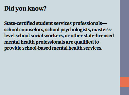 Who can provide school-based mental health services?
