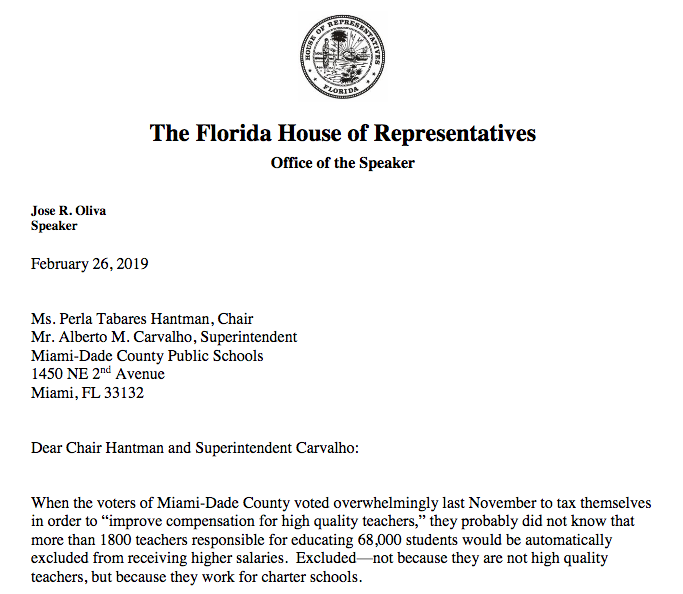 It's not too late to rectify omission of charter school teachers says House Speaker Oliva to MDCPS